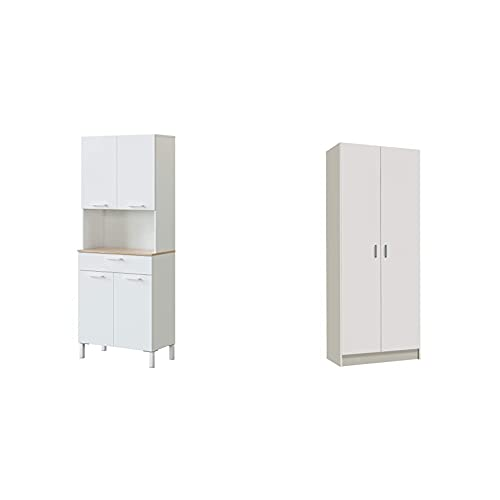 Habitdesign Alacena De Cocina, Aparador Comedor, Mueble Auxiliar 4 Puertas + 1 Cajon Y Estante Interior + Armario Multiusos, Escobero, 2 Puertas