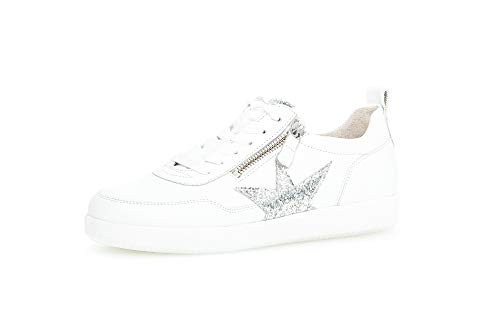 Gabor Damen Sneaker, Frauen Low-Top Sneaker,Best Fitting,Reißverschluss,Optifit- Wechselfußbett, Women's Woman Freizeit,Weiss/Silber,38.5 EU / 5.5 UK