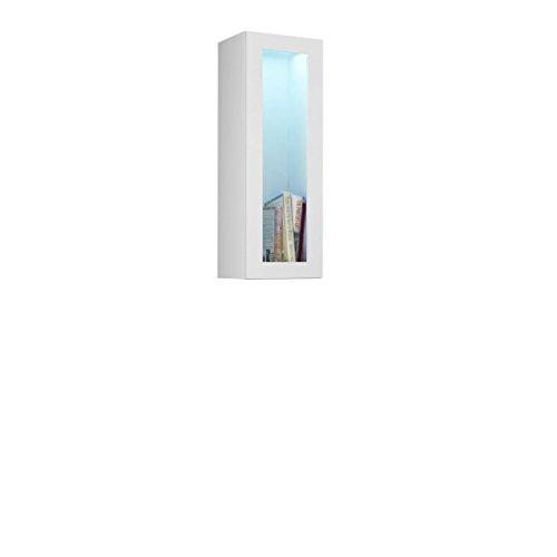 Mirjan24 Hängevitrine Vigo Glas 90, Vitrinenschrank, Grifflose Öffnen, Farbauswahl, Stauraumvitrine Hochschrank, Wohnzimmer Highboard, Schrank, Vitrine (ohne Beleuchtung, Weiß/Weiß Hochglanz)