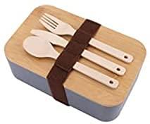 Bento Box adaptada para familias, a prueba de fugas, 2 compartimentos, puede usar microondas y lavavajillas, Colouration innovador Caja de almuerzo de madera,Grey