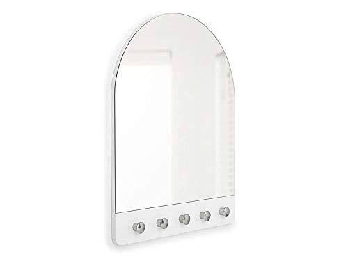 Umbra Peek Wandspiegel, boogvormige spiegel met 5 haken voor hal, slaapkamer, gastentoilet en meer, wit/nikkel