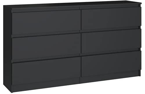 Cómoda Elegante y espaciosa Demii 6 cajones 120 cm, Sala de Estar, la Oficina, el Dormitorio (Negro)