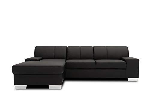 Domo Collection Star Ecksofa, Eckcouch in L-Form, Sofa Kunstleder Garnitur, 248 x 150 x 74 cm, Polsterecke in schwarz