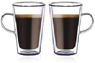 Neoflam Double Wall Glass Mug Set Of 2, Coffee Mugs, Latte Mug, Clear Mugs 250 Ml