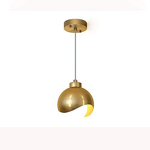 Luz colgante de latón cepillada, cuerpo de lámpara de hierro forjado de oro + lámparas de cristal, lámparas colgantes, accesorio de iluminación E27, iluminación simple simple de cabeza simple para cab