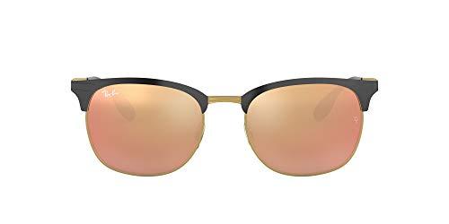 Ray Ban Unisex Sonnenbrille RB3546 Mehrfarbig (Gestell: schwarz Gold, Gläser: licht braun verspiegelt pink 187/2Y)), Large (Herstellergröße: 53)