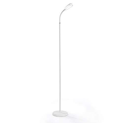 EASYmaxx LED-Standleuchte Daylight | 360°-drehbarer Lampenkopf | kabellose Stehleuchte mit flexiblem Lampenhals | Touch-Sensor [weiß]