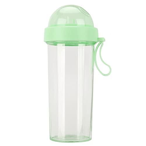 Botella de agua de plástico de 600 ml / 20 oz, botella de agua portátil para deportes al aire libre con 2 pajitas, botella de bebida de doble uso, taza de viaje para senderismo al aire libre(verde)