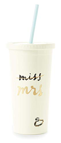 Kate Spade New York Bridal Insulated Tumbler with Reusable Straw, 20 Ounces, Miss to Mrs. (White)