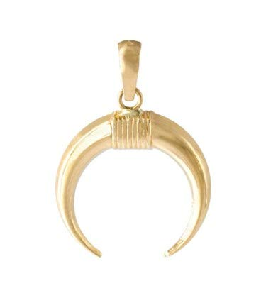 PRIORITY Colgante de Oro 18K Media Luna gallón Estampado Colgante de Oro, Colgante Media Luna, Colgante Media Luna en Oro, Colgante de protección, Colgante de la Suerte, Colgante de Mujer