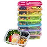 Meal Prep Containers 3 Compartment Food Storage Containers Microwave Dishwasher Freezer Safe (Color mixing, 7 PACK (3compartment))