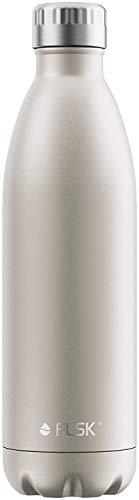 FLSK Das Original Neue Generation Edelstahl Trinkflasche – Kohlensäure geeignet | Die Isolierflasche hält 18 Stunden heiß und 24 Stunden kalt | ohne BPA und rostfrei (1000ml, Champagne)*
