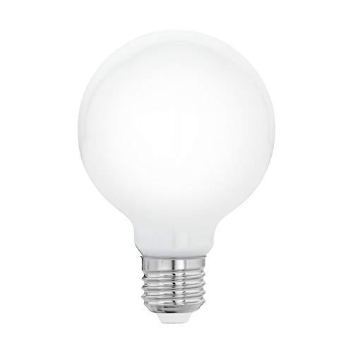 EGLO Bombilla LED E27, bombilla Globe Milky LED, 8 W (equivalente a 75 W), 1055 lúmenes, E27 LED blanco cálido, 2700 K, bombilla LED, bombilla G80, diámetro 8 cm
