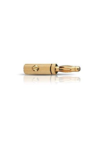 Oehlbach Banana B3 - Hochwertige Bananenstecker für Kabel bis 4mm² - vergoldete Kontakte, Metallstecker - 4 Stück - Gold