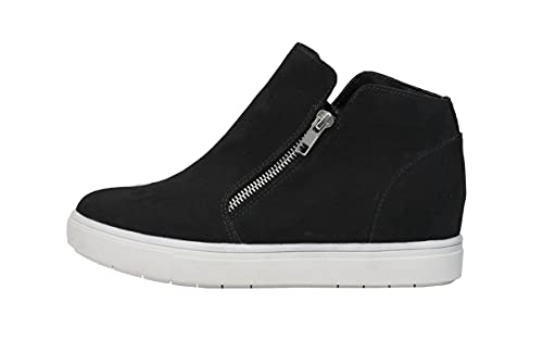 CUSHIONAIRE Women's Hart Hidden Wedge Sneaker +Wide Width Available, Black, 8.5
