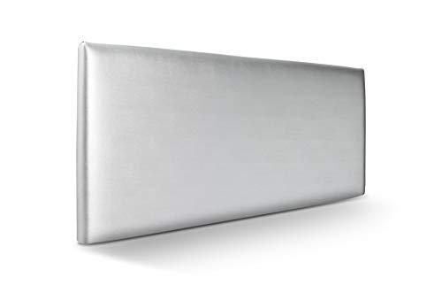 SUENOSZZZ-ESPECIALISTAS DEL DESCANSO Cabecero de Cama Liso tapizado en Polipiel para Camas de 90 (100 x 57 cm) Polipiel Plata