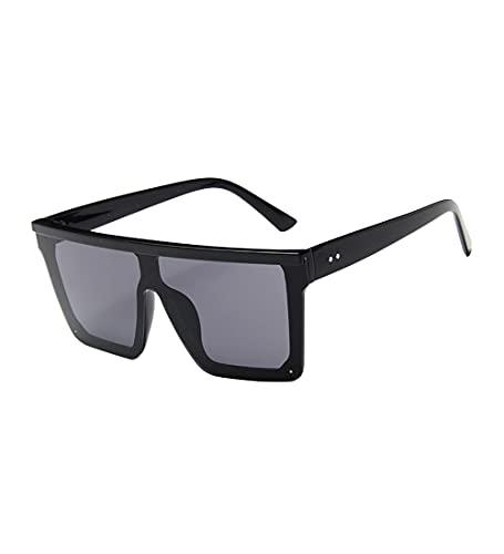 besbomig Gafas de Sol Cuadradas de Gran Tamaño con Parte Superior Plana y Montura Grande, Protección Ligera y UV, con Estuche para Gafas, para Mujeres y Hombres
