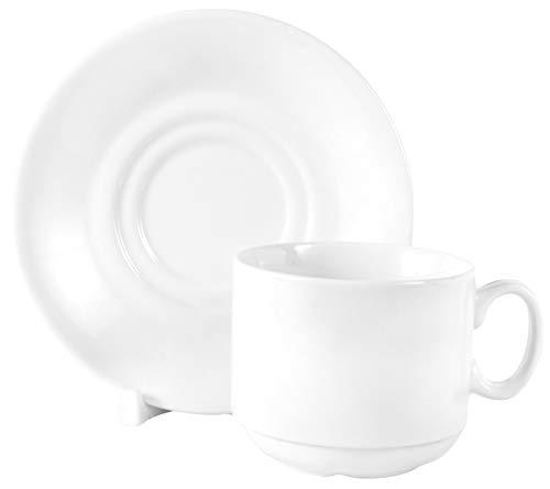 Set di 12 pezzi bianchi composto da 6 tazze impilabili in porcellana da 220 ml e 6 piattini in porcellana per caffè tè, cappuccino espresso stoviglie per ristorazione e casalinghi
