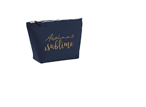 Bubble gum, Trousse Maquillage pailletée en Coton Bleu Marine Absolument Sublime 19x13cm