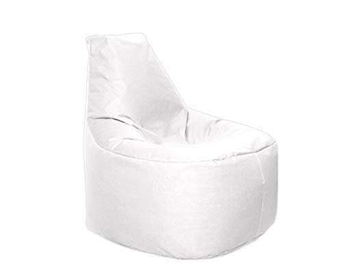 Lacasa Sitzsack XL-XXL Outdoor Indoor- Wasserdicht Wetterfest-Bodenkissen Sitzkissen Beanbag- Erwachsene Kinder- Gaming Sessel- EPS StyroporFüllung- Hochwertiges Oxford 600D (XXL - 80 cm Ø, Weiß)
