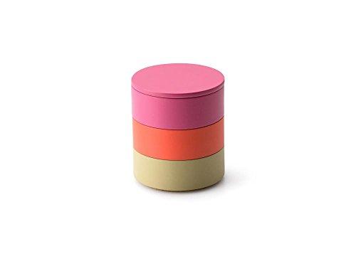 Continenta 3er Set, Aufbewahrungsdosen aus Holz, Ø 9 x 9,5 cm, in pink/Koralle/Schilf, Deckel in Schilf, Dekoration und Schmuckkästchen