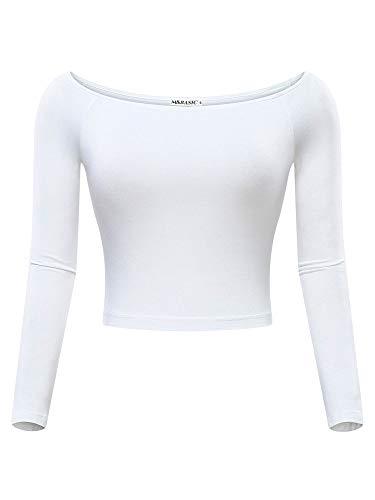 MSBASIC Bauchfreie Tops Schulterfreies Off Shoulder Weiß Langarmshirt Damen Weiß-Langarm X-Large