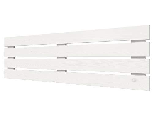 LA WEB DEL COLCHON - Cabecero de Madera Rústico Lombardía para Cama de 150 (160 x 50 cms) Blanco nórdico | Cabeceros Madera | Dormitorio Matrimonio | Cabezal Cama |Estilo nórdico