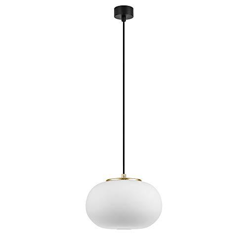 Unter Luce Dosei Hängeleuchte 1-flammig mit Lampenschirm aus Opalglas, Textilkabel und 1 Lampenfassung E27, Moderne Glaskugel 24 W, weiß matt / goldfarben / schwarz