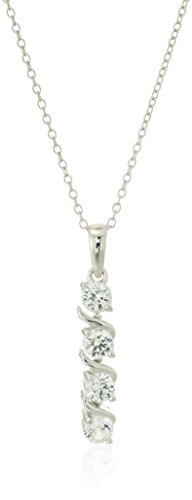 Sterling Silver Created White Sapphire Four Stone Pendant Necklace, 18'