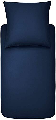 AmazonBasics - Bettwäsche-Set, Mikrofaser, 135 x 200 cm - marineblau