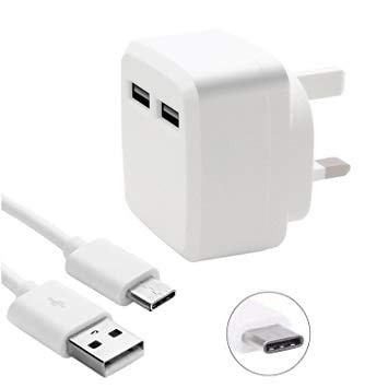 DN-Alive iPad 10.2 2020 Type C Charger Dual USB Port Charger With Fast Charging Data Cable Portable Adapter Charger UK 3 Pin Mains Wall Plug Type C USB Charger For iPad 10.2 2020