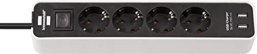 Brennenstuhl Ecolor Steckdosenleiste 4-fach mit USB-Ladebuchse (Steckerleiste mit 2x USB Charger, Schalter und 1,5m Kabel) weiß/schwarz