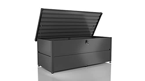 ILESTO Metall Kissenbox mit Schloss wasserdicht/Gartenkiste Auflagenboxen/Garten Box Aufbewahrungsbox Gerätebox 783 Liter Outdoor einfache Montage Gartenmöbel Truhe