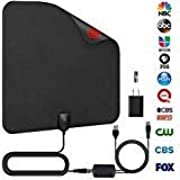 AMZ Original HD Digital TV Antenna - Skywire TV Antenna for Digital TV Indoor with Powerful HDTV Amplifier Signal Booster 50-80 Miles Range - Power Adapter and 16.5ft Longer Coax Cable(Black)