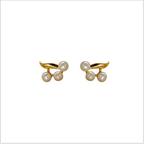 S925 Pendientes De Perlas Retro De Plata Esterlina Temperamento Elegante Pendientes Pequeños Pendientes Inductivos Silvestres, Oro (Color : Gold, Size : A Pair)