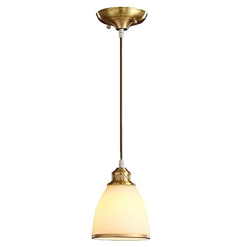 WISHVYQ Candelabro Simple De Cobre De Una Sola Cabeza Lámpara Colgante Colgante De Vidrio Creativo Adecuado para Dormitorio, Sala De Estar, Pasillo, Restaurante, Cafetería, Cocina, Droplight20cm