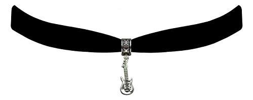 Victorian Vault Black Velvet Guitar Choker Steampunk Gothic Jewelry Pendant Necklace