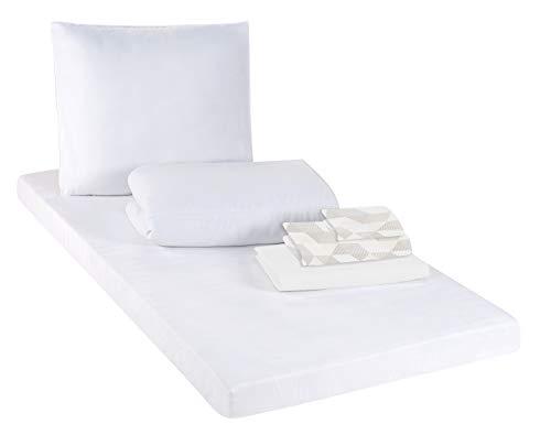 Schlafwohl Basic® BedBox Decken und Kissen Set mit Bettwäsche und Matratze Bettenset • Alles in Einem Matratzenset aus Baumwolle