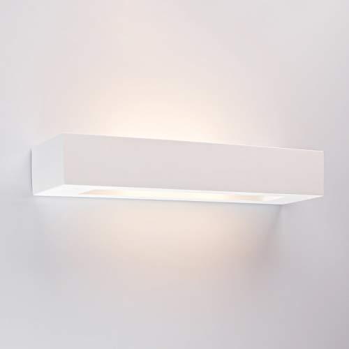 Innenleuchte Wandleuchte Wandlampe aus Gips LARGO Weiss Inkl. 1 x LARGO Wandbeleuchtung Leuchte, 230V, IP20, Fassung 2x E14 – Ohne Leuchtmittel