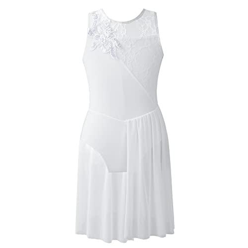 Mufeng Vestido de Danza de Baile para Niñas Leotardo de Vestido de Malla de Encaje sin Mangas para Ballet de Color Liso Lentejuelas Elegante Blanco 12 años