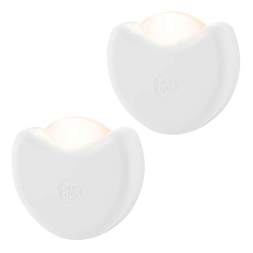 GE Automatic LED Night Light, 2 Pack, Plug-In, Dusk-to-Dawn Sensor, Directional, Compact, Ideal for Bedroom, Nursery, bathroom, Hallway, Kitchen, 10202
