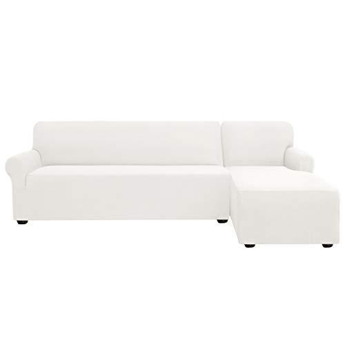subrtex Sofabezug L Form Stretch Sofahusse Ecksofa Elastisch Antirutsch Eckcouch überwurf Weich Stoff Abwaschbar (Rechts 2 Sitzer, Creme)