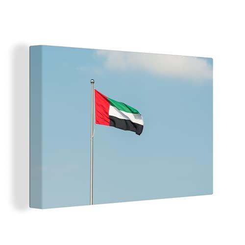 Leinwandbild - Flagge der Vereinigten Arabischen Emirate im blauen Himmel - 150x100 cm