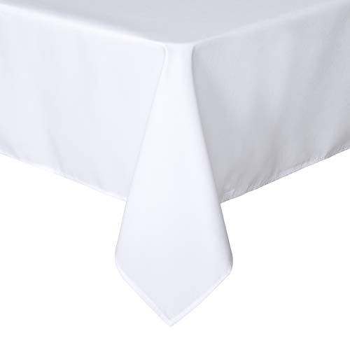 sancua Rectangle Tablecloth - 60 x 84 Inch - Stain and Wrinkle Resistant Washable Polyester Table Cloth, Decorative Fabric Table Cover for Dining Table, Buffet Parties and Camping, White
