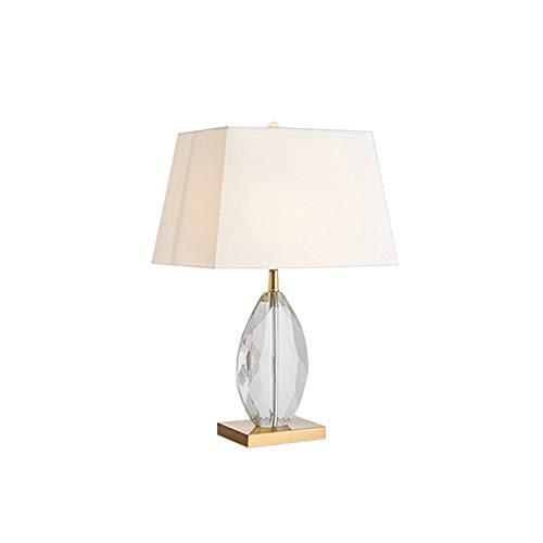 ForeverBox, FB7-62336, Huisentrigs Lux kristal tafellampen met stoffen kap LED slaapkamer nachtlampje met gloeilamp voor de woonkamer