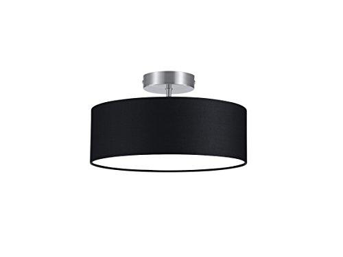 lightling modern Deckenleuchte in nickel matt, Stoffschirm schwarz, 2 x E14 max. 40W, ø 30 cm, Höhe: 16 cm