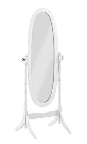PEGANE Miroir Psyché Charme sur Pied Bois Blanc - Dim : L 59 x P 49.5 x H 150 cm