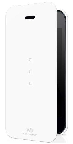 White Diamonds - Funda con tapa iPhone 5 y 5S, diseño con cristales Swarovski, color blanco