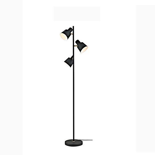 Luz de piso 3 lámpara de pie ligera - Lámpara de polo de pie estilo árbol con luces ajustables  Piso de pie Luz de polo  Lámpara alta - Lámpara de sala de estar Acabado negro Lámpara de pie de pie