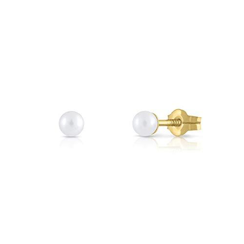 Pendientes oro bebe recién nacida, niña o mujer, modelo clásico mini de perla de 3 milímetros cultivada natural máxima calidad y con cierre de presión de máxima firmeza y seguridad.